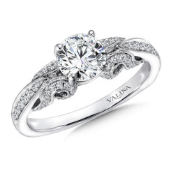 Valina Round Side Stone Engagement Ring R9412W