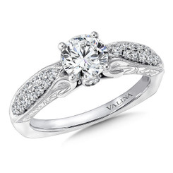 Valina Round Side Stone Engagement Ring R9420W