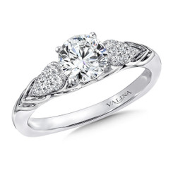 Valina Round Side Stone Engagement Ring R9423W