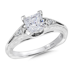 Valina Princess Cut Side Stone Engagement Ring R9426W