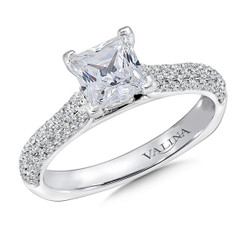 Valina Princess Cut Side Stone Engagement Ring R9428W