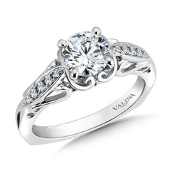 Valina Round Side Stone Engagement Ring R9445W