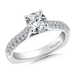 Valina Round Side Stone Engagement Ring R9464W