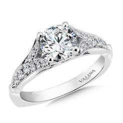 Valina Round Side Stone Engagement Ring R9465W