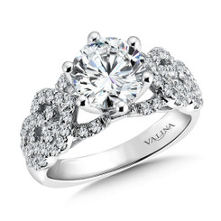 Valina Round Side Stone Engagement Ring R9474W
