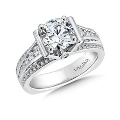 Valina Round Side Stone Engagement Ring R9485W