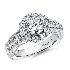 Valina Round Halo Engagement Ring R9487W