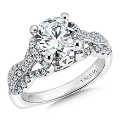 Valina Round Side Stone Engagement Ring R9489W