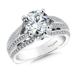 Valina Round Side Stone Engagement Ring R9498W