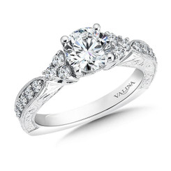 Valina Round Side Stone Engagement Ring R9505W