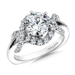 Valina Round Side Stone Engagement Ring R9511W