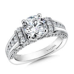 Valina Round Side Stone Engagement Ring R9521W