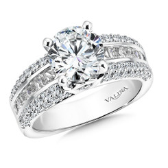 Valina Round Side Stone Engagement Ring R9522W