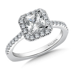 Valina Princess Cut Halo Engagement Ring R9537W