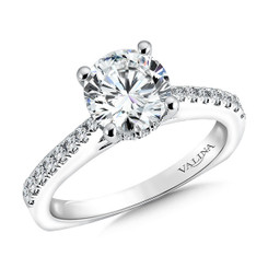 Valina Round Side Stone Engagement Ring R9551W