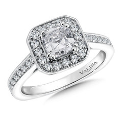 Valina Asscher Cut Halo Engagement Ring R9552W