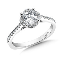 Valina Princess Cut Side Stone Engagement Ring R9554W