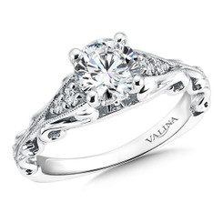 Valina Round Side Stone Engagement Ring R9555W