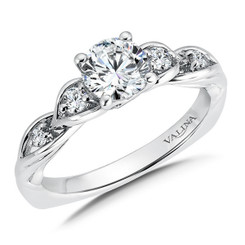 Valina Round Side Stone Engagement Ring R9559W
