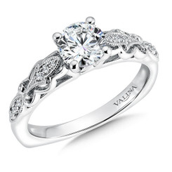 Valina Round Side Stone Engagement Ring R9562W