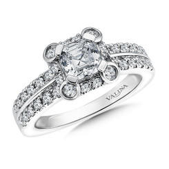 Valina Asscher Cut Halo Engagement Ring R9566W