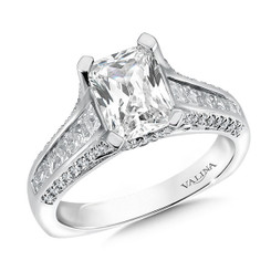 Valina Emerald Cut Side Stone Engagement Ring R9568W