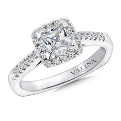 Valina Princess Cut Halo Engagement Ring R9634W