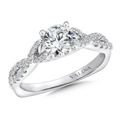 Valina Round Criss Cross Engagement Ring R9636W