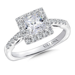 Valina Princess Cut Halo Engagement Ring R9649W
