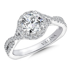 Valina Round Halo Engagement Ring R9654W