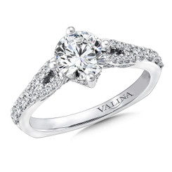 Valina Round Split Shank Engagement Ring R9658W