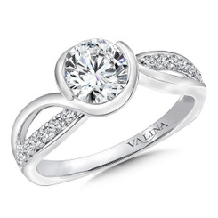 Valina Round Criss Cross Engagement Ring R9668W