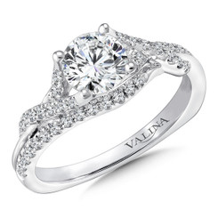 Valina Round Criss Cross Engagement Ring R9670W