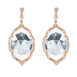 Suneera Anila 2 White Topaz, Diamond and Rose Gold Earrings