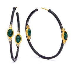 Suneera Lyla Emerald Hoop Earrings