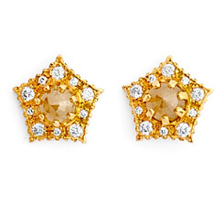 Suneera Pipa Yellow Gold Stud Earrings