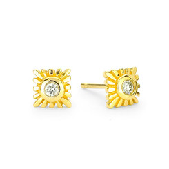 Suneera Selene Yellow Gold Stud Earrings