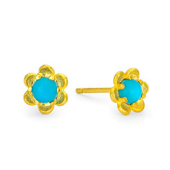 Suneera Taryn Yellow Gold Turquoise Stud Earrings