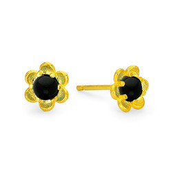 Suneera Taryn Yellow Gold Black Spinel Stud Earrings
