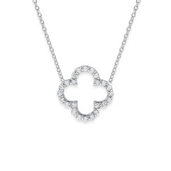 KC Designs Diamond Open Clover Necklace with 24 Diamonds Weighing .24 carats N1810