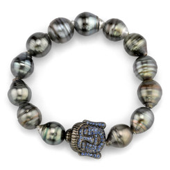 Borgioni 14K Black Rhodium Gold, Blue Sapphire Buddha on Black Tahitian Pearl Bracelet