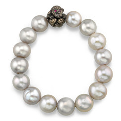 Borgioni 18K Black Rhodium Gold, Pave Brown Diamond Monkey on South Sea Pearl Bracelet