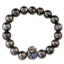 Borgioni 14K Black Rhodium Gold, Blue Sapphire Monkey on Black Tahitian Pearl Bracelet