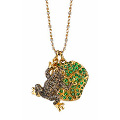 Borgioni 18K Yellow Gold, Brown Diamond Frog & Tsavourite Lillypad