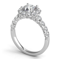 Sasha Primak Small Round Halo Royal Prong Diamond Engagement Ring JS-ER2361G