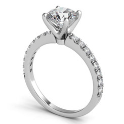 Sasha Primak Pave Accented Novaya Diamond Engagement Ring ER159G