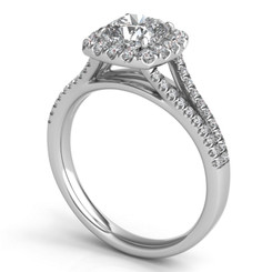 Pave Split Shoulder Cushion Halo Cushion Diamond Engagement Ring ER313G