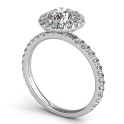 Sasha Primak Round Halo Pave Diamond Engagement Ring ER328G