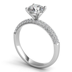 Sasha Primak Three Row Pave Diamond Engagement Ring ER342G