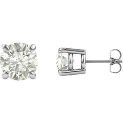 Charles & Colvard Forever One™ Moissanite, Basket Stud Earrings with Friction Backs